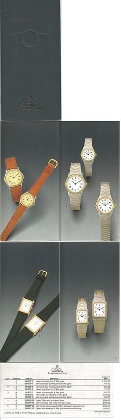 Manuals and Guides 93720: Vintage 1983 Ebel Watch Catalog With Price List BUY IT NOW ONLY: $65.0