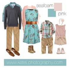 Seafoam + Pink family outfit inspiration: what to wear for a family photo session in the spring or summer. mixing color patterns and fabric textures. Family Picture Colors, Family Picture Outfits, Picture Ideas, Photo Ideas, Spring Family Pictures, Family Pics, Spring Photos, Summer Pictures, Family Portrait Outfits