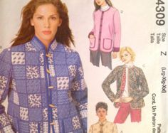 Vintage Patterns For Sell McCall's 4309 Sewing Pattern  Size Z:  Misses' - L(16-18), XL (20-22), XXL (24-26) Copyright - 2003  DETAILS: Misses' lined jackets.  MEASUREMENTS: See photo below.  CONDITION: Pattern - Uncut, factory folded with all pieces  Instructions - Included Envelope - Good condition  ✂ ✂ ✂ THIS IS A SEWING PATTERN, not a completed garment. ORIGINAL sewing pattern - not a copy✂ ✂ ✂