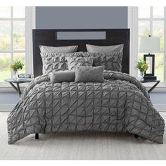 Vcny Maya Pinch Pleat Comforter Set with Euro Shams, Multiple Colors, Black