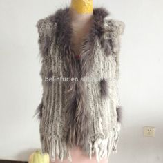 Lady's tassel style knitted rabbit fur vest with raccoon fur collar