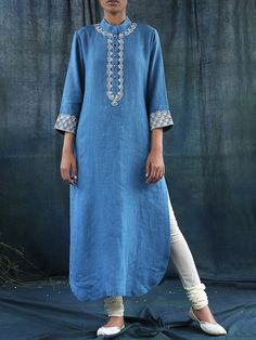 Pastel Blue Linen Kurta With Pearl Embroidery #Dupatta #ethnicstyle #style #elegant #dress #suit #indiandesigner #ethnic #accessories #partywear #celebration #festive #dress #couture #beautiful #embroidered #fashion #clothing #silk #ethnic #indiandesigner #stylist #fashionblogger #trendy #follow #stepintostyle Shop Now: http://bit.ly/1mWVgLO