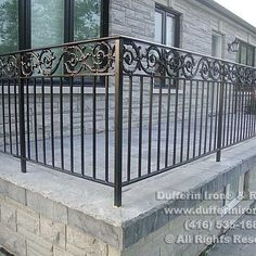 Exterior Railings – Dufferin Iron & Railings Iron Balcony, Porch And Balcony, Outdoor Balcony, Balcony Railing, Exterior Stair Railing, Front Porch Steps, Courtyard Landscaping, Iron Railings, Entry Stairs
