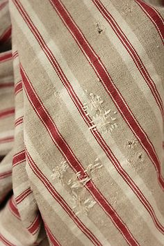 Antique French linen ticking fabric ~ wonderfully timeworn ~  so schön!