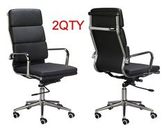 Eames High Back Office Chair - BLACK Vegan Leather, thick high density foam, stabilizing bar swivel & deluxe tilting mechanism - Sold in a (PACK of chairs High Back Office Chair, Black Office Chair, Teal Dining Chairs, Bar Chairs, Eames Chair Replica, Chairs For Bedroom Teen, Inflatable Chair, Restoration Hardware Dining Chairs, Small Swivel Chair