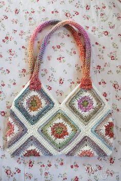 Granny square crocheted purse