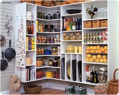 Kitchen Pantry  like the tall narrow shelves for baking sheets/ platters  would be perfect with hanging space for linens