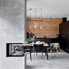 A Gorgeous Scandinavian Style Home in Finland (Gravity Home) Modern Cabin Interior, Interior Exterior, Modern Cabin Decor, Scandinavian Style Home, Scandinavian Interior, Nordic Style, Nordic Interior Design, Scandinavian Kitchen, Cabin Homes