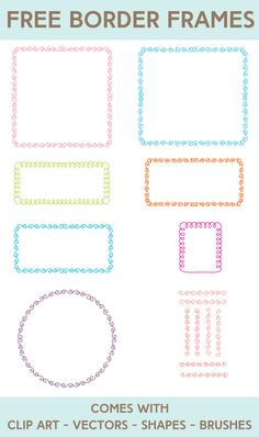 Free Borders and Frames Kit - StarSunflower Studio Page Decoration, Decorations, Printable Frames, Journal Fonts, How To Use Photoshop, Cute Frames, Digital Scrapbooking Freebies, Frame Clipart, Borders And Frames