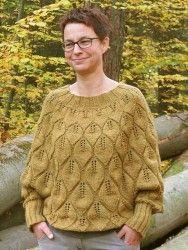 Пуловер пончо узором листья