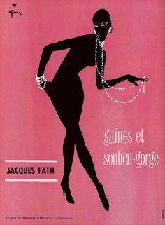 René Gruau, poster illustration for Jacques Fath underwear, 1950s