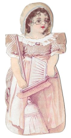"""Style: 1890s Lithograph. Description: Advertising premium paper doll for Clark's O.N.T. Spool Cotton Thread - """"Spool Cotton is the Best for Hand and Machine Sewing"""""""