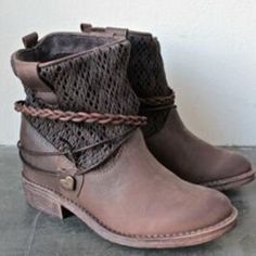 51e720803 Casual Panel Winter PU Flat Heel Ankle Boots
