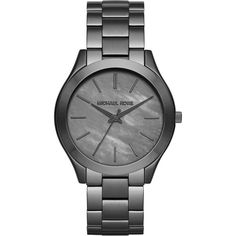Michael Kors Slim Runway Gunmetal-Tone Stainless Steel Bracelet Watch (€180) ❤ liked on Polyvore featuring jewelry, watches, apparel & accessories, gunmetal grey, stainless steel jewelry, blue dial watches, water resistant watches, wristwatches and stainless steel watches