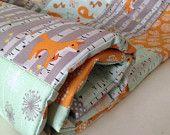 Woodland cot quilt~ crib quilt~ baby quilt~ crib boy girl~ woodland quilt~ woodland baby quilt~ mint and orange~ baby gifts~ fox quilt