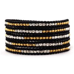 Chan Luu - Gold Tone and Sterling Silver Wrap Bracelet on Black Leather, $215.00 (http://www.chanluu.com/wrap-bracelets/gold-and-sterling-silver-wrap-bracelet-on-black-leather/)