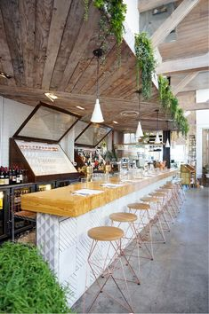 """The Butcher's Daughter is a plant-based restaurant, cafe, juice bar and """"vegetable slaughterhouse Decoration Restaurant, Restaurant Interior Design, Cafe Interior, Cafe Restaurant, Cafe Bar, Smoothie Bar, Billard Bar, Juice Bar Design, Metzger"""