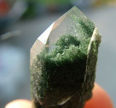 Mossy chlorite included quartz crystals from Rougemont Quarry, North Carolina  mw