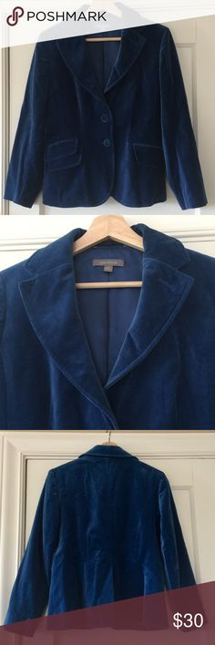 Cropped royal blue suede blazer Like new condition.  Versatile suede blazer.  Worn once Ann Taylor Jackets & Coats Blazers