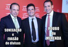 Quando uma imagem fala mais que palavras. Da esquerda para a direita: O candidato à prefeitura de São Paulo João Doria Jr (PSDB), o juiz da Lava Jato Sergio Moro e o deputado Fernando Capez (PSDB)