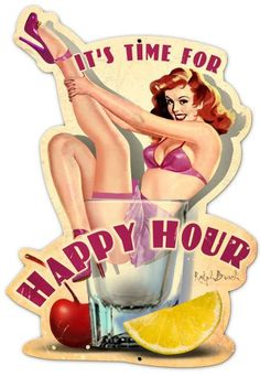 Vintage and Retro Tin Signs - JackandFriends.com - Retro Happy Hour Custom Shape Metal 16 x 24 Inches, $58.97 (http://www.jackandfriends.com/retro-happy-hour-custom-shape-metal-16-x-24-inches/)