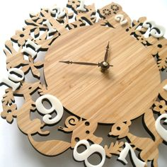FREE SHIPPING - Wooden decorative wall clock, forest animal clocks, Childrens room decor, 10 inches by decoylab on Etsy https://www.etsy.com/listing/99542269/free-shipping-wooden-decorative-wall