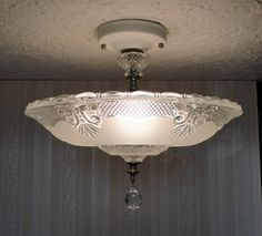 VINTAGE 30u0027s ART DECO GLASS CEILING Light Fixture CHANDELIER For Bedroom