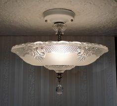 VINTAGE 30's ART DECO GLASS CEILING Light Fixture CHANDELIER-for bedroom