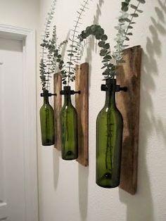 Two Little Love Birds: Wine Bottle Sconce(Wine Bottle Lights) Liquor Bottles, Bottles And Jars, Glass Bottles, Wine Bottles Decor, Wine Bottle Decorations, Empty Wine Bottles, Glass Bottle Crafts, Wine Bottle Art, Wine Bottle Garden