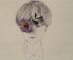 art, flower, and bts kép