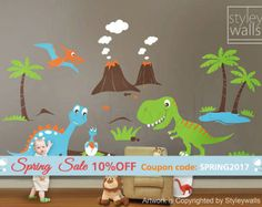 Etiqueta de pared calcomanías Dino tierra dinosaurios niños