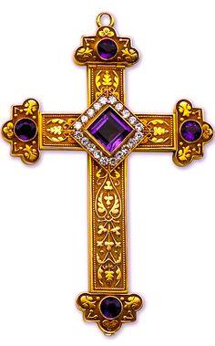 Gold, Amethyst and Diamond Cross - 1911