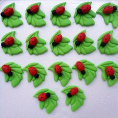 Ladybug handmade fondant cupcake toppers made by FancytopCupcake