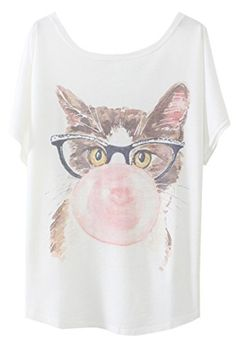 Pink Wind Glasses Cat Animal Print Crewneck Tees Shirts Tshirt *** You can find out more details at the link of the image.Note:It is affiliate link to Amazon.
