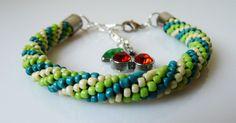 Beaded crochet bracelet small beads green by EmilyArtHandmade