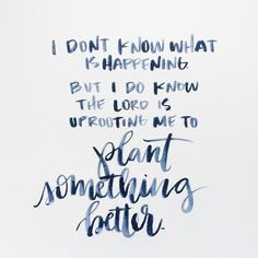 Beautiful Quotes I don't know what is happening by I do know that the lord is uprooting me to plant something better. Bible Verses Quotes, Faith Quotes, Me Quotes, Scriptures, Gold Quotes, Bible Bible, Sunday Quotes, The Words, Cool Words