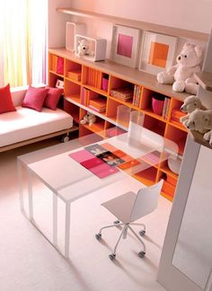Love the bookcase - and although it looks a bit more industrial than I usually like, the bed to daybed/couch is pretty funky; as is the sliding desk! Not so great for wee kids.