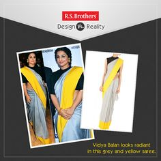#‎DesignVsReality‬!  Bollywood Actress ‪#‎VidyaBalan‬ looks stunning in this Yellow and Grey Saree. This ‪#‎Saree‬ adds more grace to her Look. How much would you rate for this Style out of 5?  (Image copyrights belong to their respective owners)