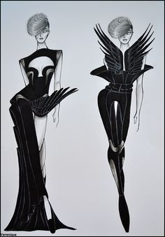 Black avian collection by Verenique on DeviantArt Fashion Model Sketch, Fashion Design Sketchbook, Fashion Design Drawings, Fashion Sketches, Dress Sketches, Fashion Figure Drawing, Fashion Drawing Dresses, Fashion Illustration Dresses, Drawing Fashion