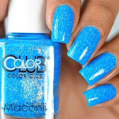 Find great deals for Color Club - Otherworldly - Bright Blue Creme Shimmery Holo Glitter Nail Polish. Shop with confiden Baby Blue Nails With Glitter, Bright Blue Nails, Blue Toe Nails, Nail Polish On Carpet, Color Club Nail Polish, Glitter Nail Polish, Acrylic Nails, Bright Nail Designs, Nail Design Spring