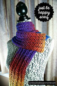 Just Be Happy Scarf - Free Pattern - https://oombawkadesigncrochet.com/2014/07/just-be-happy-scarf.html