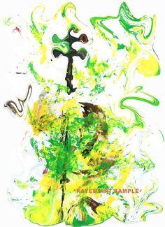*Kayem Art Poster Kontrabass Jazzgreen handsigniert 2
