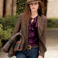 Chaps Checkered Jacket and Ruffle Satin Blouse = Perfect Fall Combo from Kohl's