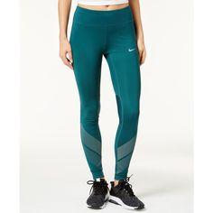 Nike Power Flash Running Leggings ($65) ❤ liked on Polyvore featuring activewear, activewear pants, dark atomic teal, nike sportswear, nike, nike activewear and nike activewear pants