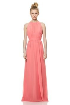 A Line High Neck Keyhole Back Long Coral Chiffon Wedding Guest Bridesmaid Dress