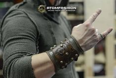 Mad Max leather bracer in post apocalyptic style Leather Bracers, Biker Leather, Leather Cuffs, Leather Men, Leather Accessories, Leather Jewelry, Mad Max, Look Man, Leather Apron
