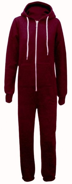 A MAROON RED hooded TRACKSUIT onesie suitable for both men and women Smaller sizes also perfect for school teams and teens This MAROON onesie is
