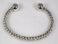 Hand made Native American Indian Jewelry; Navajo Sterling Silver twist bracelet