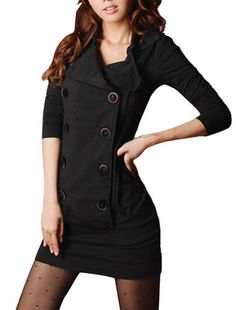 Women Convertible Collar Long Sleeve Double Breasted One-Piece Dress