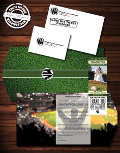 Custom Designed Baseball Themed Wedding Invitation  #baseballwedding  #stwdotcom